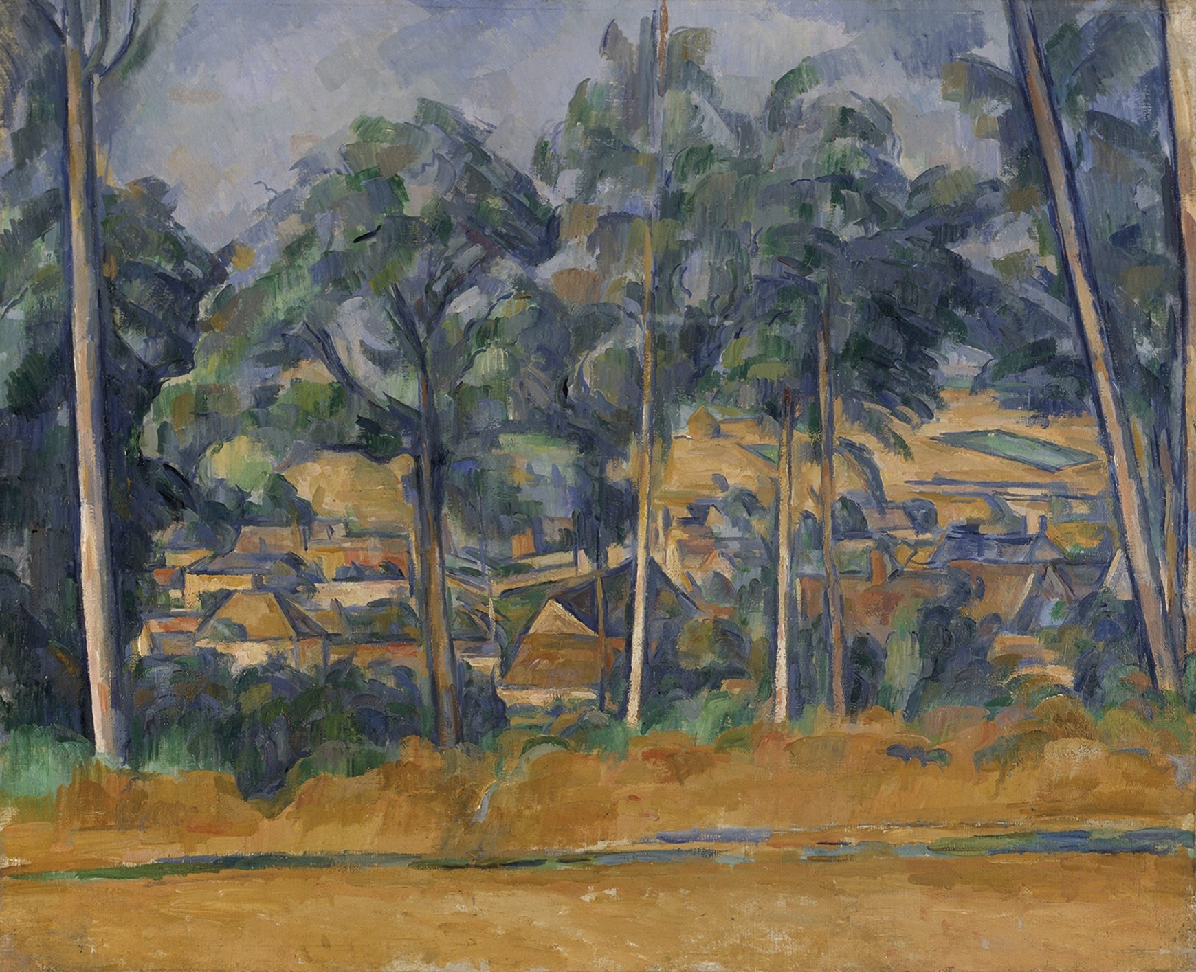 Image result for Paul Cézanne  Village behind Trees (Marines)