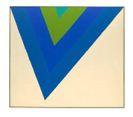 Kenneth Noland, Trans Shift, 1964. Acrylique sur toile, 100 x 113 1/2 pouces (254 x 288,3 cm)