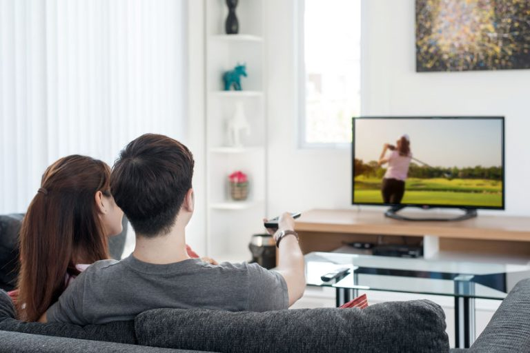 a couple watching tv