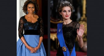 A rainha e a primeira dama quase com o mesmo estilo.