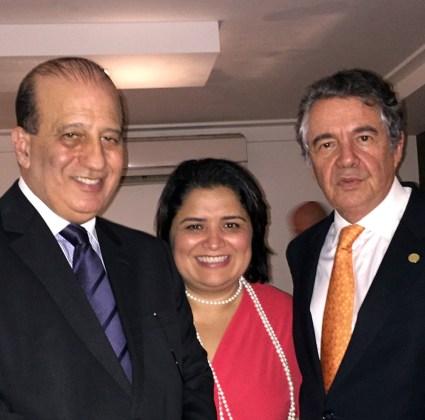 Ministro do Tribunal de Contas da União (TCU), Augusto Nardes, a jornalista Katia Cubel e o Ministro do Supremo Tribunal Federal (STF), Marco Aurélio Mello