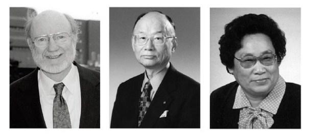 William C. Campbell, Satoshi Omura e Youyou Tu (esq. para a dir.) ganhadores do Prêmio Nobel de Medicina ou Fisiologia de 2015. (Foto: Fundação Nobel)