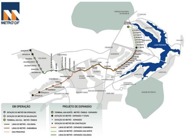 Linhas e estações do Metrô do Distrito Federal (Foto: Metrô-DF/Reprodução)