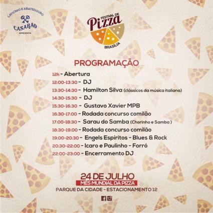 Além das melhores pizzas de Brasília o festival preparou uma agenda cultural para que seu domingo fique mais gostoso!!!