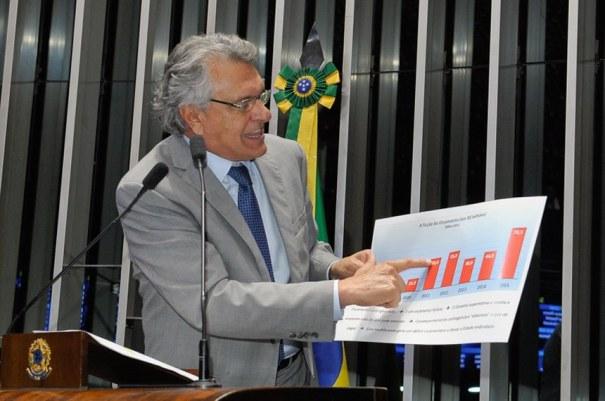O senador Ronaldo Caiado (DEM-GO) defendeu a PEC do Teto de Gastos e apontou o caráter fictício do Orçamento da União em razão do contingenciamento das despesas - Foto: Waldemir Barreto/Agência Senado
