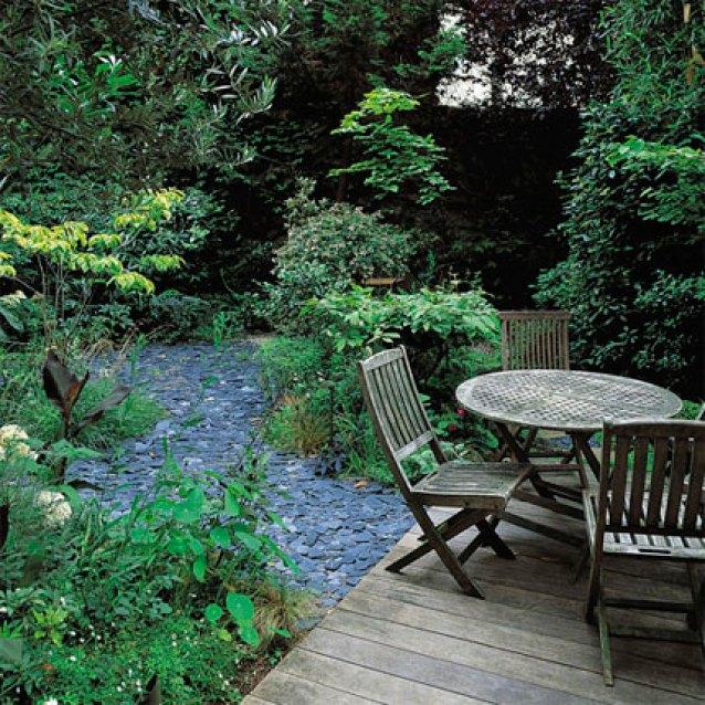 giardino rigoglioso con piante e siepi
