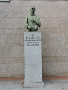 Fleming - El Doctor Fleming sobre pedestal de granito