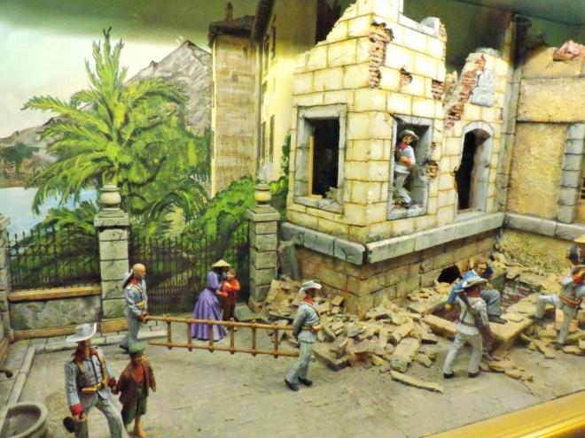 Museo de la Guardia Civil - Miembros de la Guardia Civil de Puerto Rico, auxiliando a las víctimas de un huracán que asoló la ciudad de Ponce en 1888. (Imagen propiedad del Museo de la Guardia Civil)