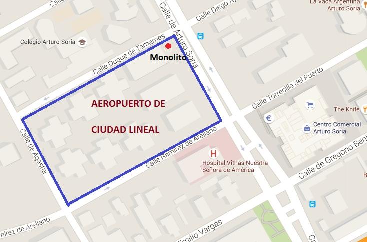 Aeropuerto Ciudad Lineal - Ubicación del Aeropuerto de Ciudad Lineal y del monolito conmemorativo (6)