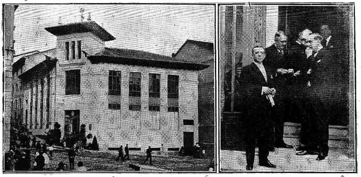 Museo de las Telecomunicaciones - Las centrales de conmutación necesitaban grandes edificios. En la imagen derecha, el Marqués de Urquijo, el Sr. Procter de ITT y varias autoridades, esperando la llegada de Alfonso XIII para la inauguración del edificio de Telefónica en Santander