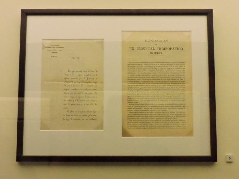 Museo de la Homeopatía - Carta solicitando fondos para la creación del Hospital Homeopático.