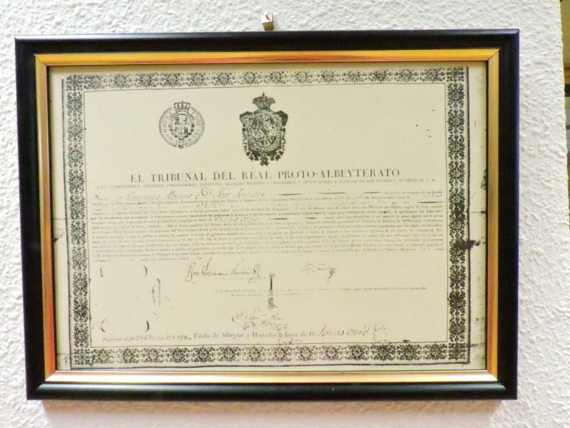 Museo Veterinaria Militar - Título de albéitar-herrador otorgado por el Tribunal del Proto-Albeytarato.