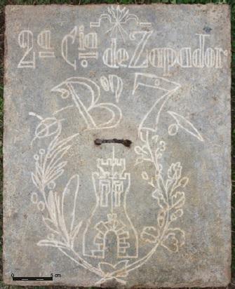 Blockhaus13 - Inscripción por la que sabemos que este búnker lo construyeron los soldados de la 2ª Compañía del Batallón de Zapadores nº 7.