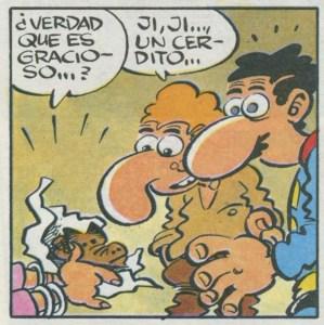 Superlópez en Camprodón - Superlópez y Jaime desenvolviendo el paquete de cerditos.