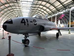"""Museo del Aire - Lockheed T-33 """"Shooting Star"""". Fabricado a partir de 1948, se llegaron a construir más de 6.000. España contó con 60 ejemplares en su ejército."""
