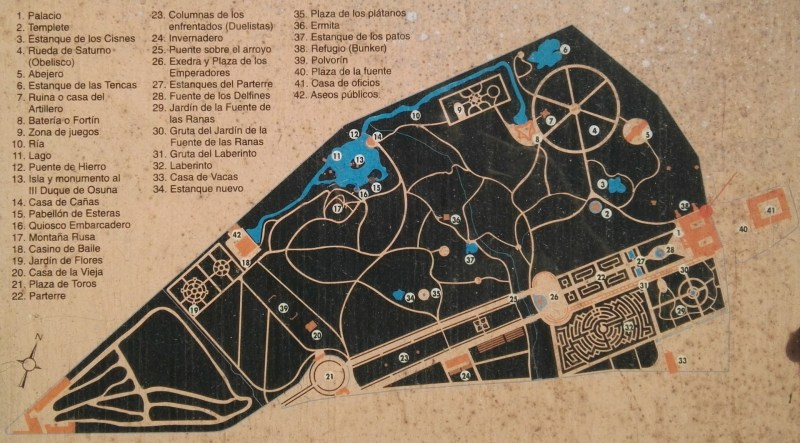 Búnker de El Capricho - Plano del Parque de El Capricho.