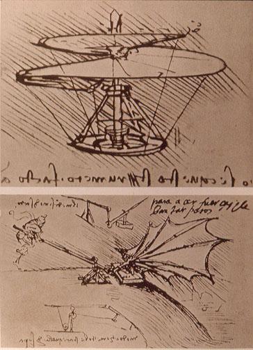 El vuelo de Diego Marín - Diseños de aparatos voladores de Galileo (8).