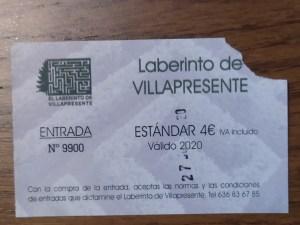 El Laberinto de Villapresente - Ticket de entrada