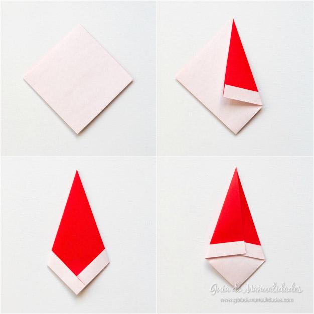 Figurita De Papa Noel Manualidades Sencillas - Origami-papa-noel
