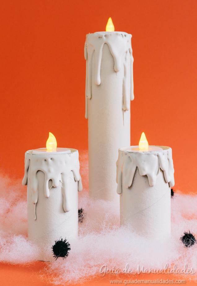Velas de Halloween con tubos de cartn  Gua de MANUALIDADES