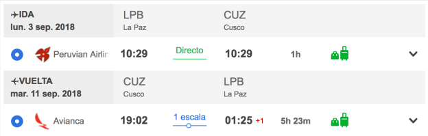 Algunos vuelos para ir a Machu Picchu desde Bolivia