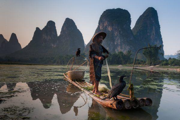 Pescando en Xingping