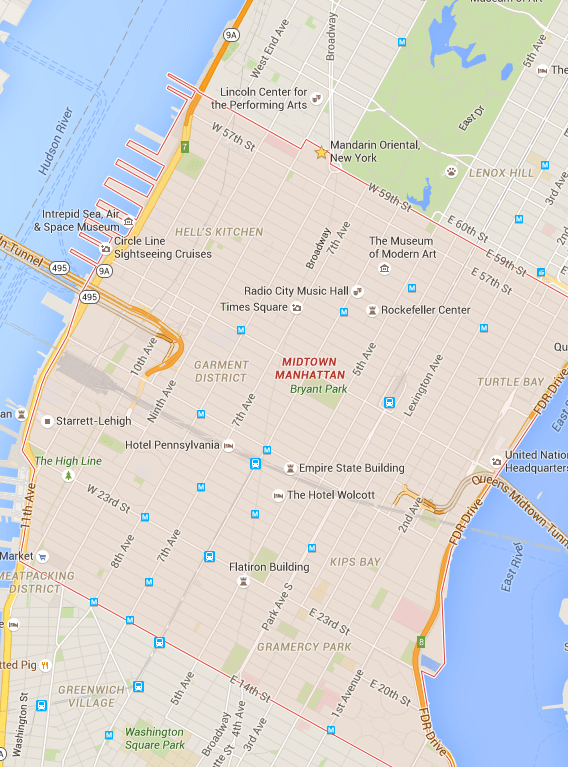 Mapa de Midwotn para se hospedar em Nova York