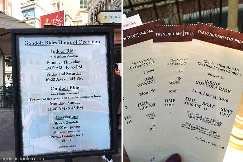 Preços e horários da gôndola em Las vegas