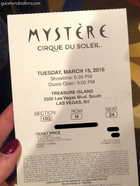 Ingresso Cirque do Soleil em Las Vegas