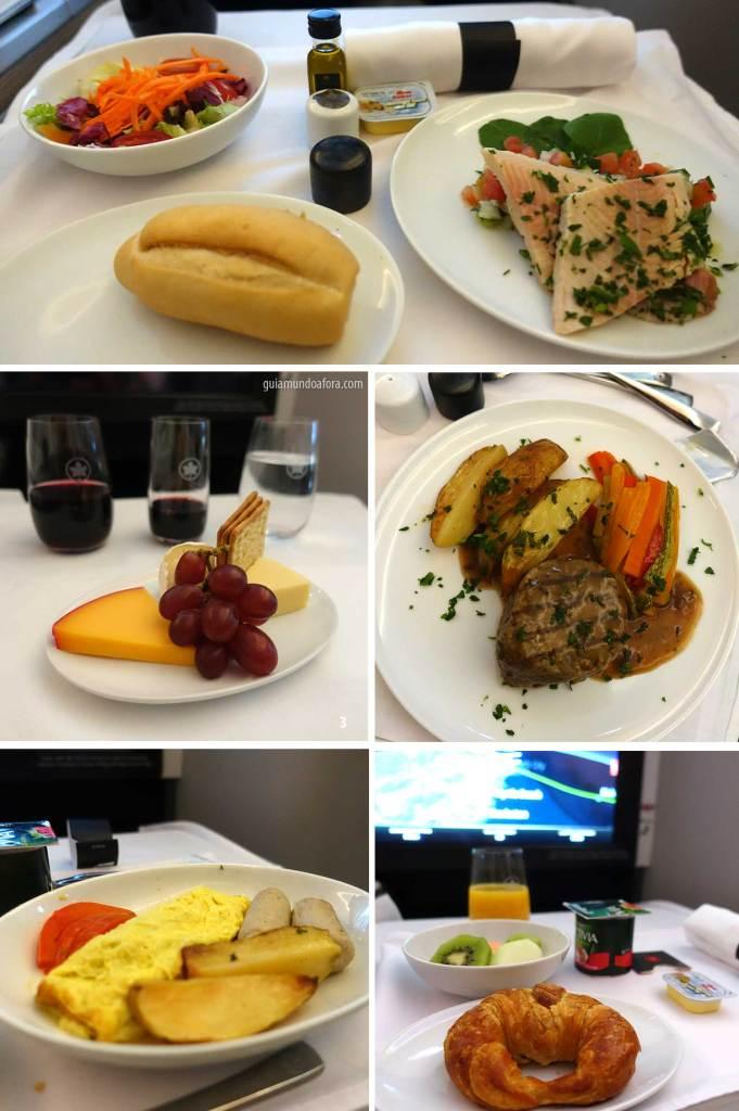alimentação na Classe Executiva da Air Canada