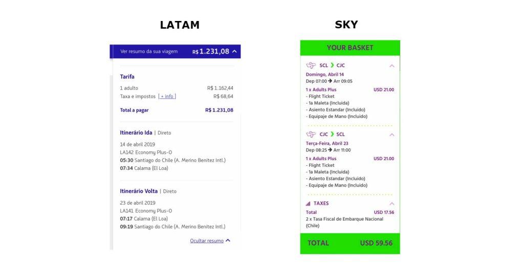 Sky e Latam voam para calama