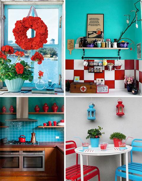 Ideas y detalles en rojo y turquesa