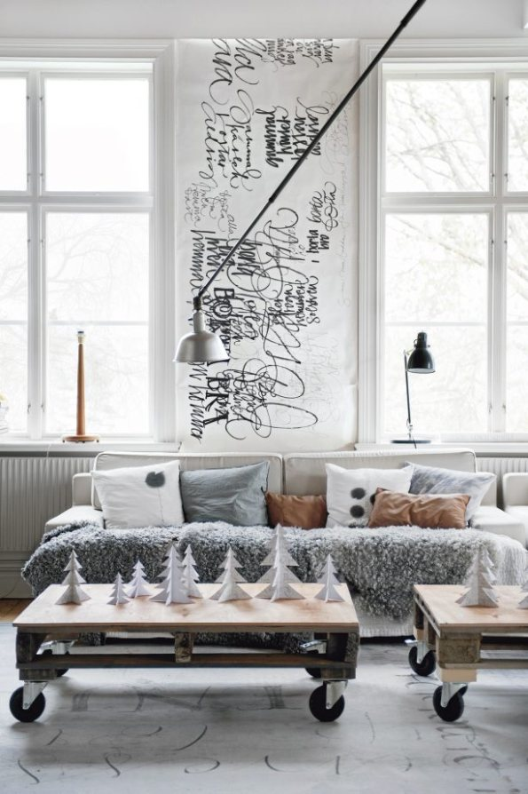 Decoracin navidea en una casa escandinava