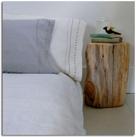 Decorar con troncos de madera natural