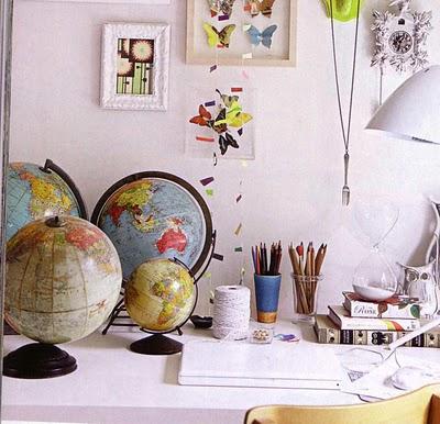 Decorar con mapas y globos terrqueos