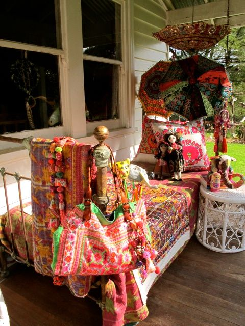 Porches de estilo bohemio e influencia marroqu
