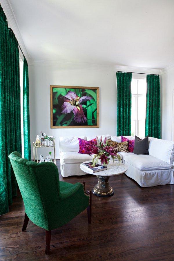 Salones decorados en verde esmeralda