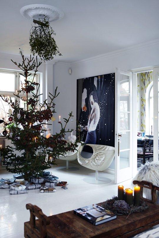 4 casas danesas decoradas para la Navidad