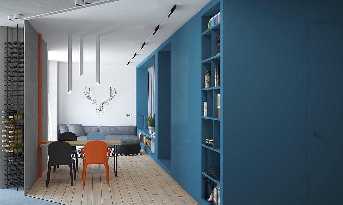 2 pequeos apartamentos decorados en rojo y azul