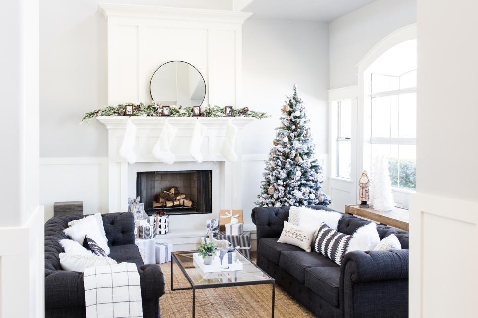 Decoracin navidea combinando detalles en blanco y negro