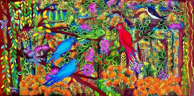 O papagaio e as araras 30 x 60 cm acrílica sobre tela 2013 (1280x638)