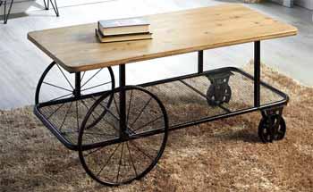 Mesa de centro madera con ruedas