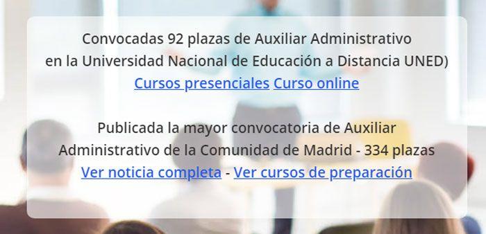 Convocatoria plazas auxiliar administrativo