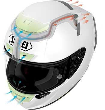 Ventilación casco de moto