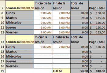 Plantillas Excel quincenales