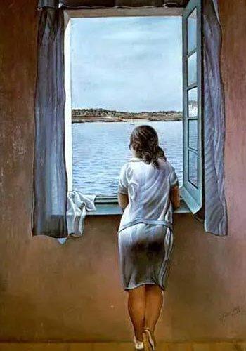Reproducción muchacha en la ventana, por Dalí