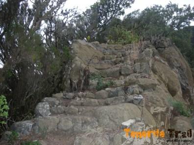 Escaleras que te encuentras a los 800 metros del Albergue inicio sendero