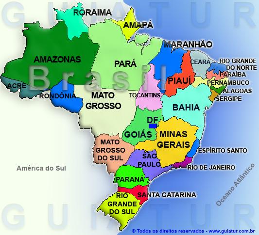 Mapa de Brasil con copyright de www.guiatur.com.br
