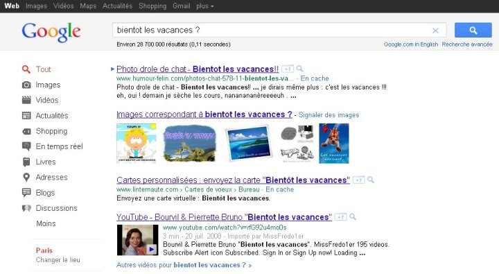 Nouvelle interface Google
