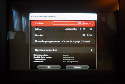Options d'enregistrement sur freebox revolution